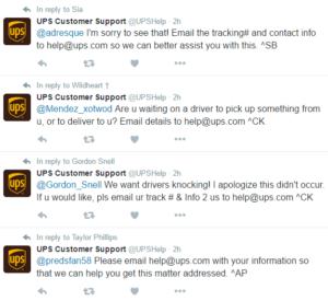 UPS customer service twitter marketing complaints