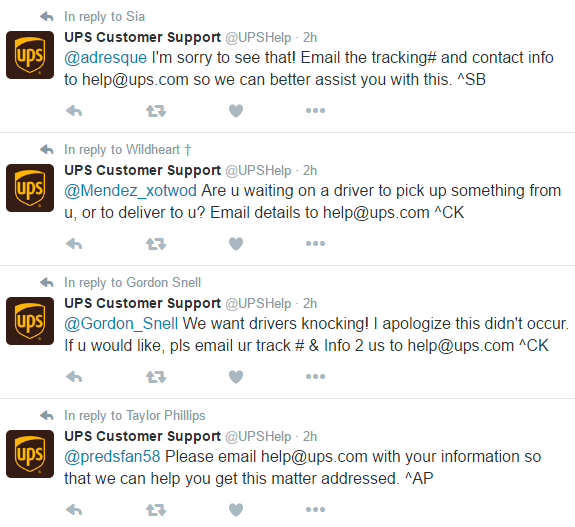 UPS customer service twitter marketing complaints