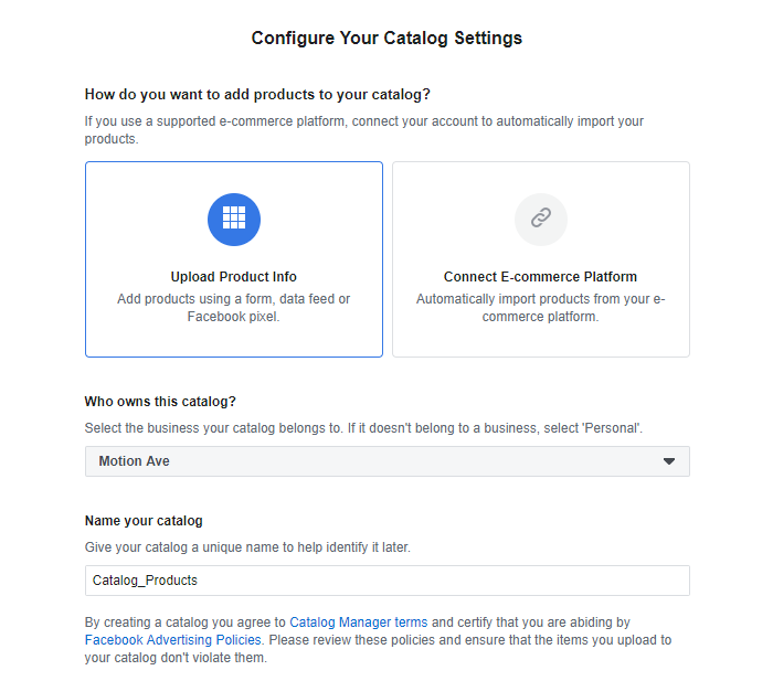 Configure Catalog Facebook Dynamic Ads