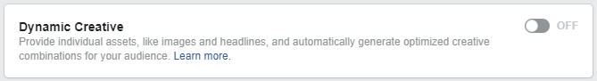 Facebook Dynamic Creative Button