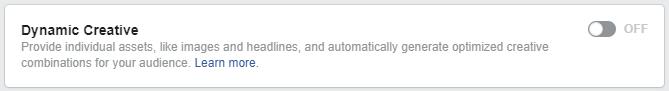 Facebook Dynamic Creative Button