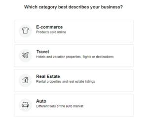 Facebook dinamic ads category