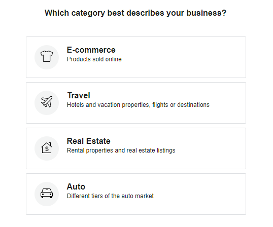 Facebook dinamic ads category